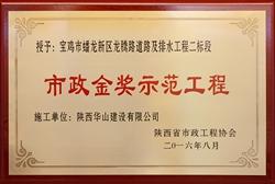 市政金奖示范工程(宝鸡市蟠龙新区龙腾路道路及排水工程二标段)